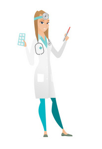Caucasian female doctor with stethoscope holding thermometer and plate of pills. Young happy doctor with thermometer and plate of pills. Vector flat design illustration isolated on white background.