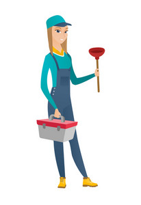Caucasian female plumber with toilet plunger and tool box. Full length of young smiling plumber in hard hat holding plunger and tool box. Vector flat design illustration isolated on white background.