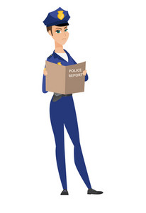 Caucasian female police officer holding a police report in hands. Full length of young serious police officer reading a police report. Vector flat design illustration isolated on white background.