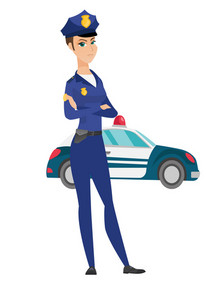 Caucasian female police officer standing with arms crossed on the background of police car. Police officer standing in front of police car. Vector flat design illustration isolated on white background