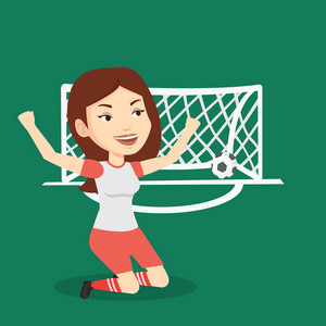 Caucasian female soccer player celebrating scoring goal. Young football player kneeling with raised arms on the background of gate with ball in it. Vector flat design illustration. Square layout.