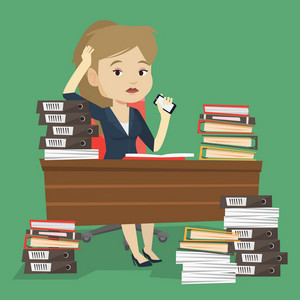 Caucasian female stressed office worker. Overworked woman feeling stress from work. Stressful employee sitting at workplace. Stress at work concept. Vector flat design illustration. Square layout.