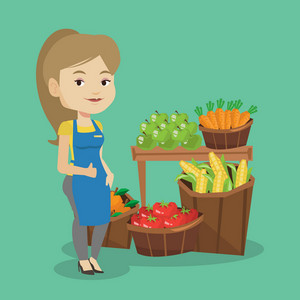 Caucasian female supermarket worker giving thumb up. Young female supermarket worker standing on the background of shelves with vegetables and fruits. Vector flat design illustration. Square layout.