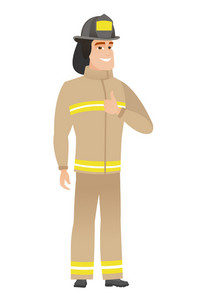 Caucasian firefighter giving thumb up. Full length of smiling firefighter with thumb up. Cheerful firefighter in uniform showing thumb up. Vector flat design illustration isolated on white background.