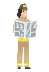 Caucasian firefighter reading newspaper. Young firefighter standing with newspaper in hands. Firefighter reading good news in newspaper. Vector flat design illustration isolated on white background.