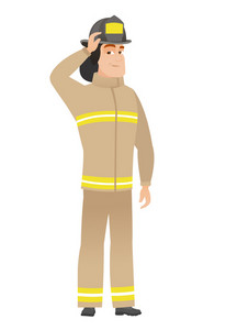 Caucasian firefighter scratching his head. Full length of thoughtful firefighter scratching head. Puzzled firefighter scratching his head. Vector flat design illustration isolated on white background.