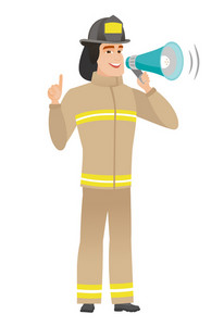 Caucasian firefighter with megaphone making an announcement. Firefighter making an announcement through a megaphone and pointing finger up. Vector flat design illustration isolated on white background