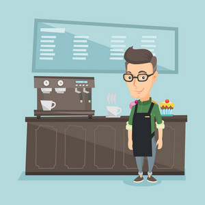 Caucasian friendly barista sanding in front of coffee machine. Barista at coffee shop. Barista making a cup of coffee. Vector flat design illustration. Square layout.