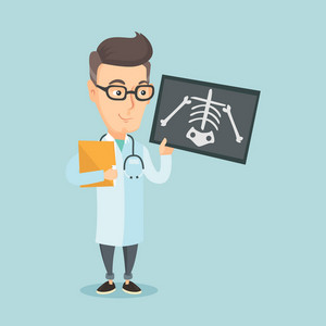 Caucasian friendly doctor examining a radiograph. An adult smiling doctor looking at a chest radiograph. Doctor observing a skeleton radiograph. Vector flat design illustration. Square layout.