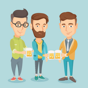 Caucasian friends clanging glasses of beer. Men toasting and clinking glasses of beer. Group of friends enjoying a beer at pub. Women drinking beer. Vector flat design illustration. Square layout.