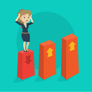 Caucasian frightened bankrupt business woman clutching her head. Young female bankrupt standing on chart going down. Concept of business bankruptcy. Vector flat design illustration. Square layout.