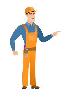 Caucasian furious builder screaming and pointing his finger to the right. Full length of aggressive builder screaming and shaking finger. Vector flat design illustration isolated on white background.