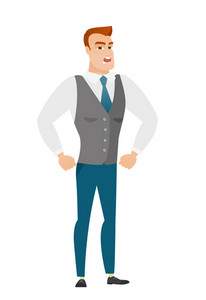 Caucasian furious businessman screaming. Full length of furious businessman shouting. Illustration of furious businessman yelling. Vector flat design illustration isolated on white background.