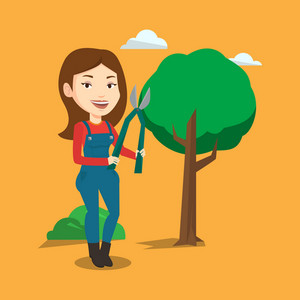 Caucasian gardener holding pruner. Female gardener is going to trim branches of a tree with pruner. Female gardener working in the garden with pruner. Vector flat design illustration. Square layout.