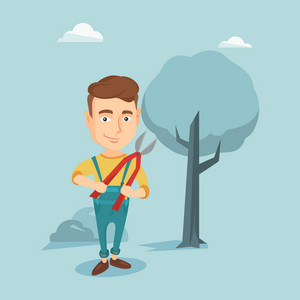Caucasian gardener holding pruner. Young gardener is going to trim branches of a tree with pruner. Happy gardener working in the garden with pruner. Vector flat design illustration. Square layout.