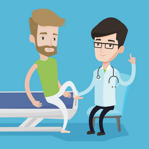 Caucasian gym doctor checking ankle of a patient. Physio therapist examining leg of hipster sportsman. Physio therapist giving a leg massage to patient. Vector flat design illustration. Square layout.