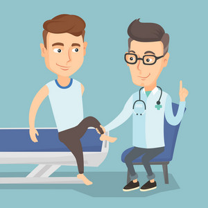 Caucasian gym doctor checking ankle of a patient. Physio therapist examining leg of young sportsman. Physio therapist giving a leg massage to patient. Vector flat design illustration. Square layout.