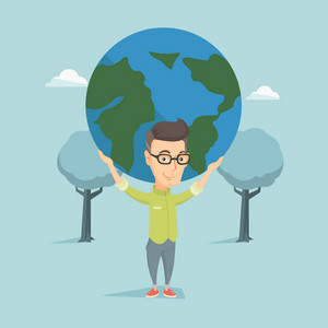 Caucasian happy business man holding big Earth globe over his head. Young business man taking part in global business. Concept of global business. Vector flat design illustration. Square layout.