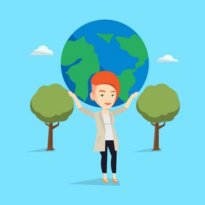 Caucasian happy businesswoman holding big Earth globe over her head. Young business woman taking part in global business. Concept of global business. Vector flat design illustration. Square layout.
