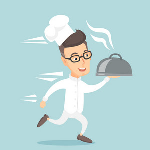 Caucasian happy male chef cook in a cap and white uniform running. Cheerful chef cook holding a cloche. Smiling chef cook fast running with a cloche. Vector flat design illustration. Square layout.