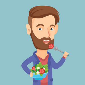 Caucasian happy man eating healthy vegetable salad. Young man enjoying fresh vegetable salad. Man holding fork and bowl with healthy vegetable salad. Vector flat design illustration. Square layout.