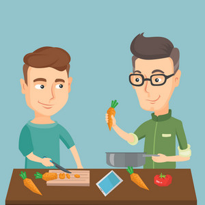 Caucasian happy men cooking healthy vegetable meal. Friends having fun cooking together healthy meal. Young smiling friends preparing vegetable meal. Vector flat design illustration. Square layout.