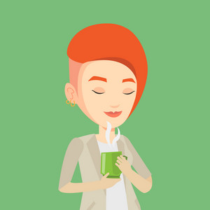 Caucasian happy woman drinking hot flavored coffee. Young smiling woman holding cup of coffee with steam. Woman with her eyes closed enjoying coffee. Vector flat design illustration. Square layout.