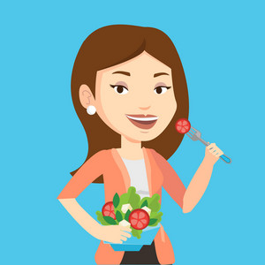 Caucasian happy woman eating healthy vegetable salad. Young woman enjoying fresh vegetable salad. Woman holding fork and bowl with vegetable salad. Vector flat design illustration. Square layout.