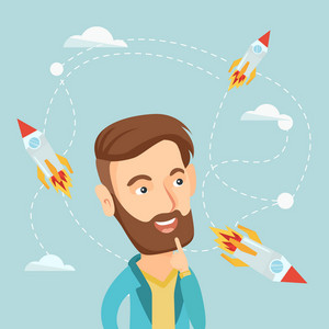 Caucasian hipster business man looking at flying start up rockets. Young man came up with an idea for a business start up. Business start up concept. Vector flat design illustration. Square layout.