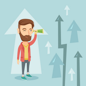 Caucasian hipster business man looking through spyglass on arrows going up symbolizing business opportunities. Business vision and opportunities concept. Vector flat design illustration. Square layout