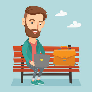 Caucasian hipster business man working outdoor. Happy business man working on a laptop. Young business man sitting on a bench and working on laptop. Vector flat design illustration. Square layout.