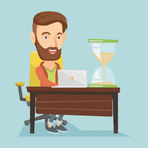 Caucasian hipster businessman sitting at the table with hourglass symbolizing deadline. Businessman coping with deadline successfully. Deadline concept. Vector flat design illustration. Square layout.