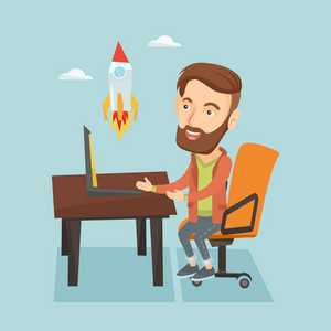 Caucasian hipster businessman with beard looking at business start up rocket. Businessman working on a business start up. Business start up concept. Vector flat design illustration. Square layout.