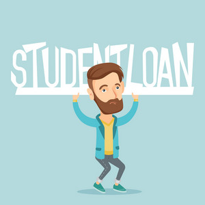 Caucasian hipster man holding a heavy sign of student loan. Young tired man carrying heavy sign - student loan. Concept of the high cost of student loan. Vector flat design illustration. Square layout