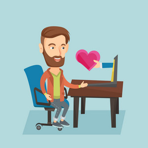 Caucasian hipster man looking for online date on the internet. Man using laptop and dating online. Man dating online and getting virtual love message. Vector flat design illustration. Square layout.