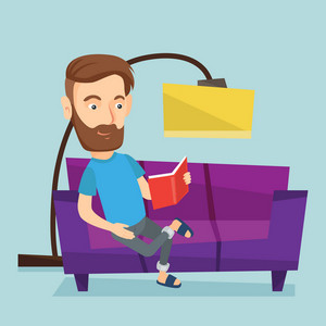 Caucasian hipster man relaxing with a book on the couch at home. Smiling man reading a book on a sofa. Young man sitting on a sofa and reading a book. Vector flat design illustration. Square layout.