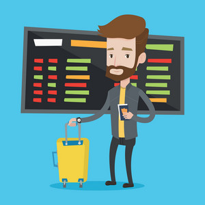 Caucasian hipster man waiting for a flight at the airport. Passenger holding passport and airplane ticket. Man with suitcase standing at the airport. Vector flat design illustration. Square layout.