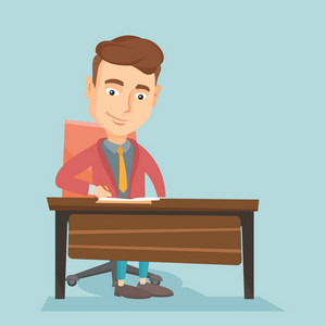 Caucasian journalist working at the table in office. Young journalist sitting at the table and writing notes in notebook. Journalist writing an article. Vector flat design illustration. Square layout.