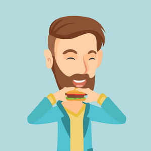 Caucasian joyful man eating hamburger. Happy man with closed eyes biting hamburger. Young smiling man is about to eat delicious hamburger. Vector flat design illustration. Square layout.