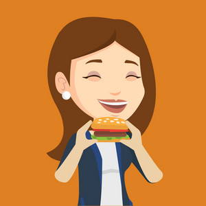 Caucasian joyful woman eating hamburger. Happy woman with eyes closed biting hamburger. Young smiling woman is about to eat delicious hamburger. Vector flat design illustration. Square layout.