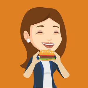 Caucasian joyful woman eating hamburger. Happy woman with eyes closed biting hamburger. Young smiling woman is about to eat delicious hamburger. Vector flat design illustration. Square layout.