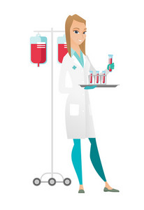 Caucasian laboratory assistant working with a test tube. Laboratory assistant analyzing blood in test tube. Scientist holding a test tube. Vector flat design illustration isolated on white background.