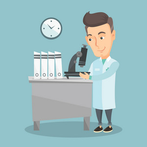 Caucasian laboratory assistant working with microscope. Adult scientist working at the laboratory. Laboratory assistant using a microscope. Vector flat design illustration. Square layout.
