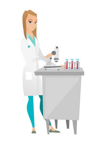 Caucasian laboratory assistant working with microscope. Young female scientist using microscope to analyze samples of blood in test tubes. Vector flat design illustration isolated on white background.