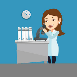Caucasian laboratory assistant working with microscope. Young female scientist working at the laboratory. Laboratory assistant using a microscope. Vector flat design illustration. Square layout.