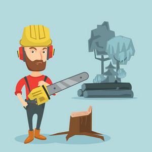 Caucasian lumberjack holding chainsaw. Lumberjack in workwear, hard hat and headphones at the forest near stump. Young hipster lumberjack chopping wood. Vector flat design illustration. Square layout.