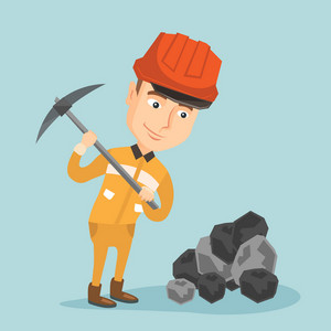 Caucasian male miner in hard hat working with a pickaxe. Male miner working at the coal mine. Young male miner at work. Vector flat design illustration. Square layout.