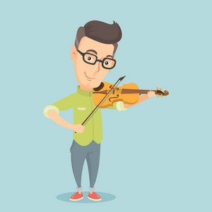 Caucasian male musician standing with violin. Adult smiling musician playing violin. Cheerful violinist playing classical music on violin. Vector flat design illustration. Square layout.