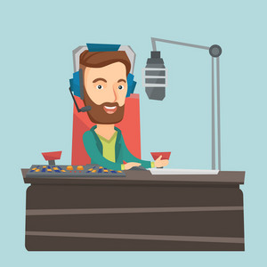 Caucasian male radio dj in headset working on a radio station. Hipster radio dj working in front of microphone, computer and mixing console on radio. Vector flat design illustration. Square layout.