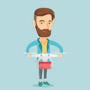 Caucasian man controlling delivery drone with post package. Man getting post package from delivery drone. Man sending parcel with delivery drone. Vector flat design illustration. Square layout.